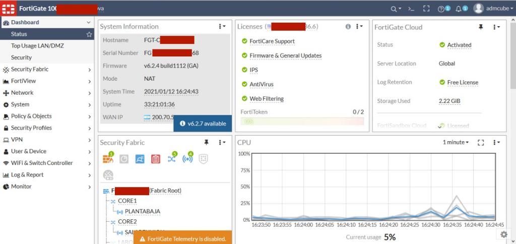 imagen de consola de un firewall UTM desde donde se gestionan y se llevan adelante las funciones de seguridad de redes de fortinet